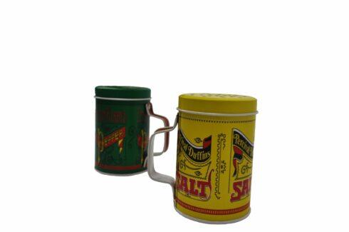 Conjunto de saleiro e pimenteiro em metal para churrasco