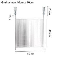 Grelha Inox 40cm x 40cm